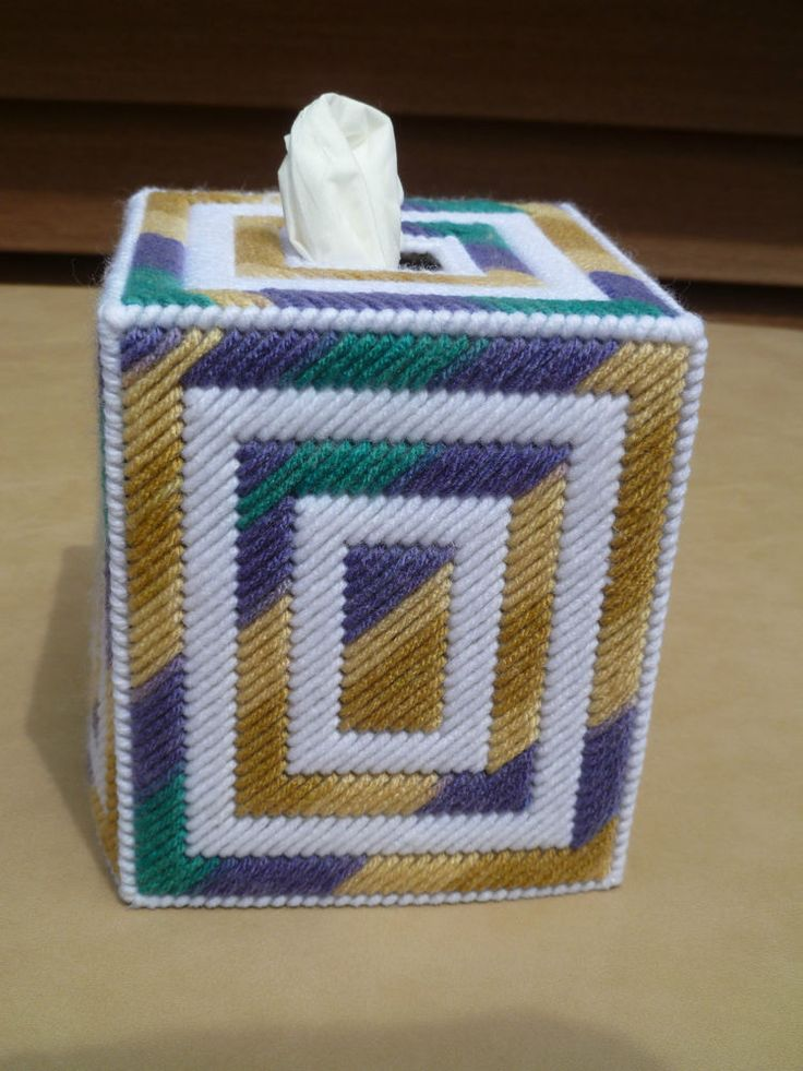 Tissue box cover - Upright/Boutique Style - Tan/Purple/White/Teal                                                                                                                                                                                 More