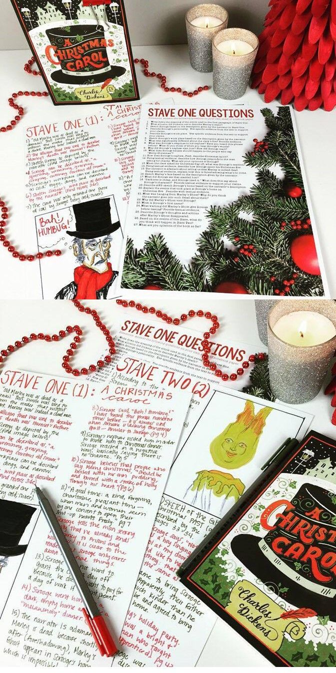 A Christmas Carol Chapter Questions: 5 Staves & Answer Key Included | This or that questions ...