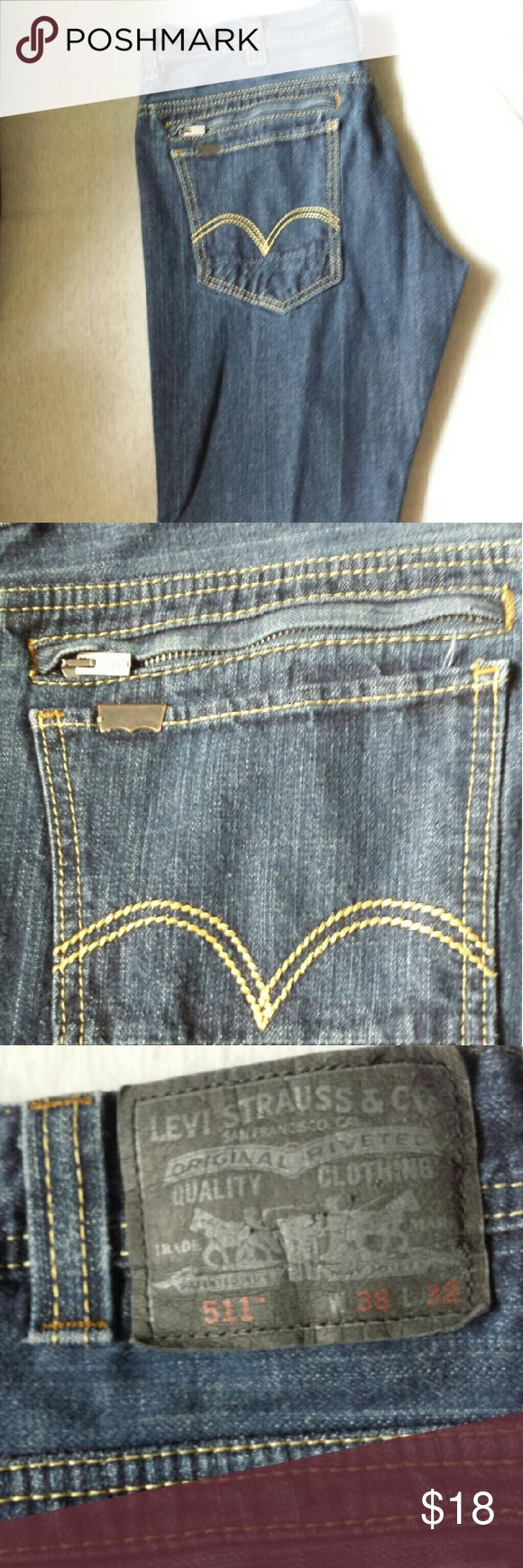 MEN'S LEVI'S 511 UNIQUE Zipper Pocket Jeans 38x32 Men's Levis Unique Rare Zippered Pocket Skinny Jeans DARK WASH SIZE 38x32 Great Preowned Condition  Ask me questions if needed Jeans Skinny