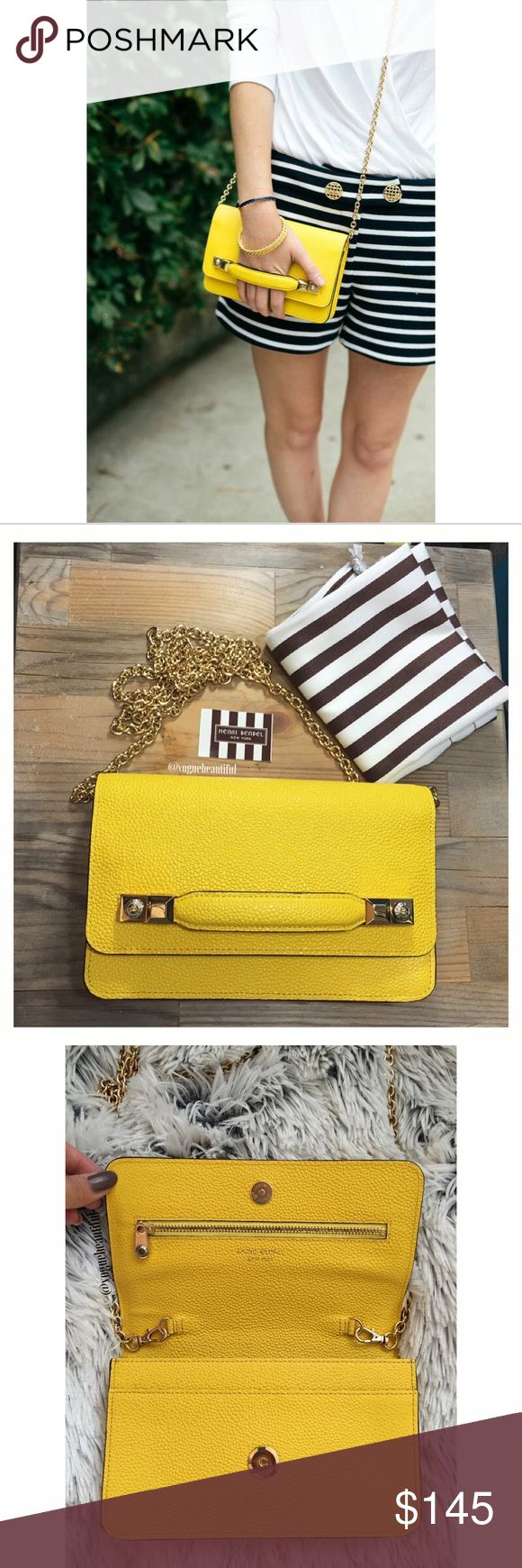 NWT Henri Bendel Crossbody Wallet on a string Brand new with tag { although no longer attached } Henri Bendel wallet on a string crossbody in yellow • in perfect new condition, comes with original tag & dustbag • retails for $198 • color may vary slightly from photos • 6 card slots, one cash pocket on inside • fits iPhone 6 & more • 7.75 across x 5 inch height • strap is 22-23 inches • NO TRADES‼️ • cover shot credit: mackenziehoran.com • henri bendel Bags Crossbody Bags