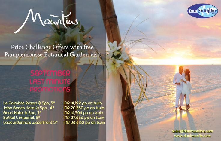Mauritius LAST MINUTE Promotion!! for more details please visit: http://www.duniyaonline.com/offers.php #mauritius #duniyaonline
