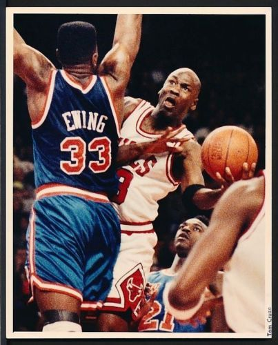1990's Original Photo MICHAEL JORDAN Chicago Bulls vs. PATRICK EWING NY Knicks…