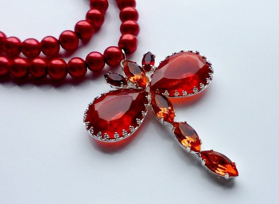Wedding jewellery set  Red dragonfly by wandadesign on Etsy, €40.00