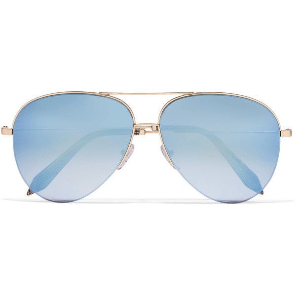 Victoria Beckham Aviator-style gold-tone mirrored sunglasses (£280) ❤ liked on Polyvore featuring accessories, eyewear, sunglasses, blue, mirror lens sunglasses, blue lens sunglasses, blue aviators, mirror sunglasses and blue aviator sunglasses