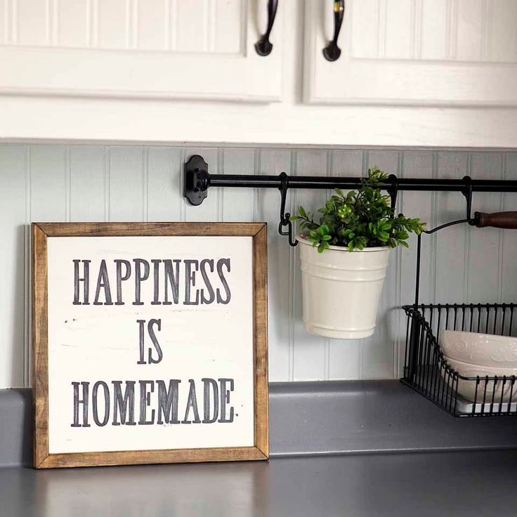 Happiness is homemade handpainted sign handmade 12x12 wall sign cottage decor kitchen wall - Kitchen wall decorating ideas ...