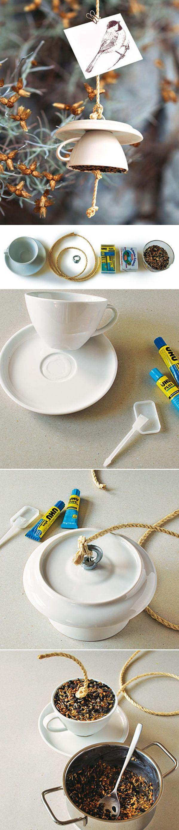 Tea cup bird feeder diy home decor ideas step by step diy pinterest bird feeders home and - Diy home decor ideas pinterest ...