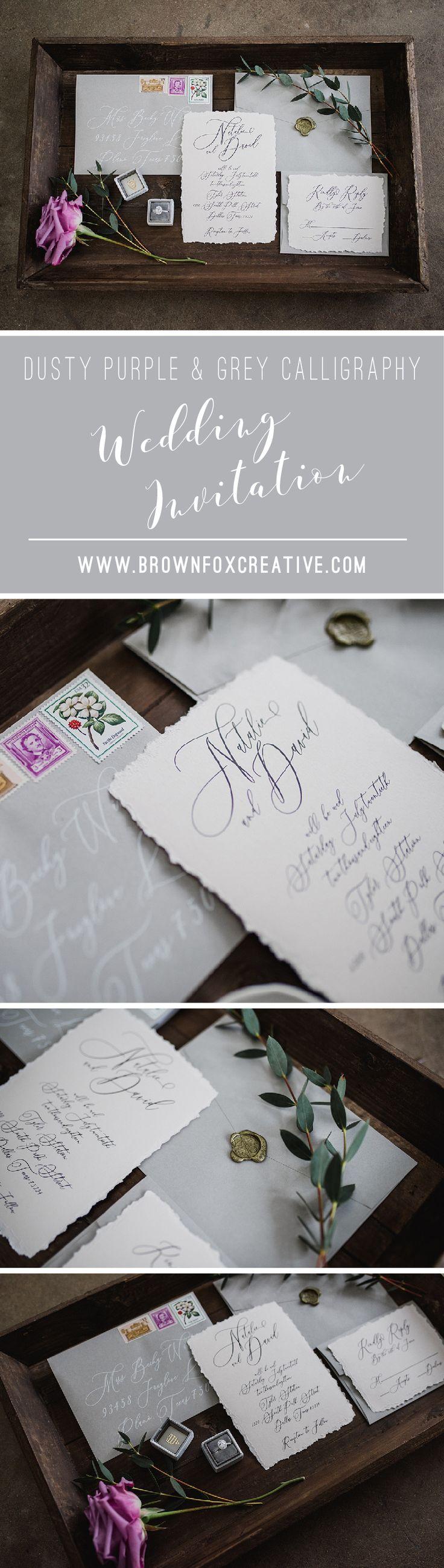 addressing wedding invitations married woman doctor%0A Dusty Purple  u     Grey Script Modern Calligraphy Wedding Invitation  u     Envelope  Liner  RSVP  and