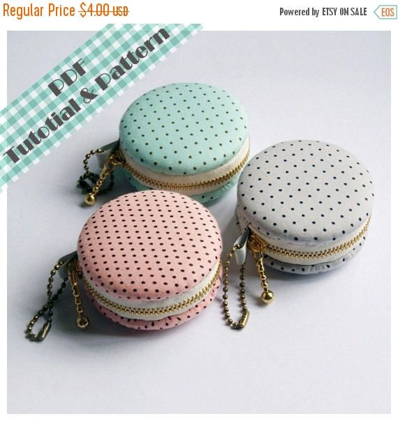SALE 15% PDF Macaron Coin Purse  Tutorial & Patterns INSTANT