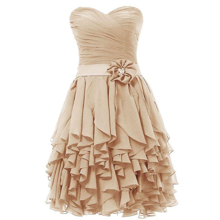 Dresstells Kurze Ballkleider Chiffon Brautjungfernkleider Cocktailkleider Abiballkleider für Damen Champagner Größe 32