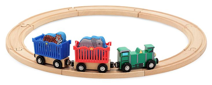 Zoo Animal Train Set    Now your young train engineer can take an elephant and a tiger to the zoo or the circus, with a kid-powered, wooden engine and 2 animal carrier cars. Eight pieces of circular track are a great way to start a wooden railway set or perfect to add to an existing Melissa & Doug train layout. Also compatible with other popular wooden railway systems.    size 32 x 24 x 7.5cm    Recommended Age: 2- 3 +