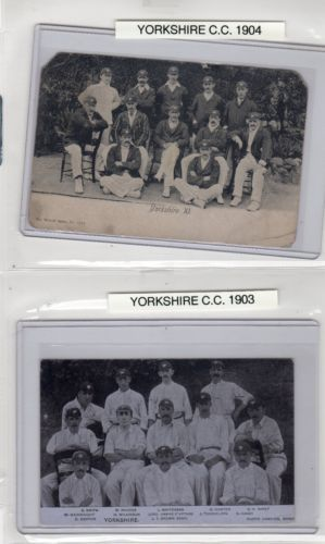 2 1903 & 1904 Yorkshire Cricket Real Photo Postcard W/ Lord Hawke  F S Jackson