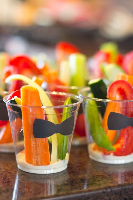Sol and Rachel do a Blog: Little Man Mustache Bash Food and Menu- veggies in cups with ranch on the bottom and a mustache sticker on the cup.