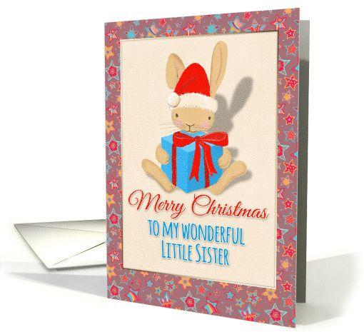 Merry Christmas to my wonderful Little Sister, cute bunny, stars card