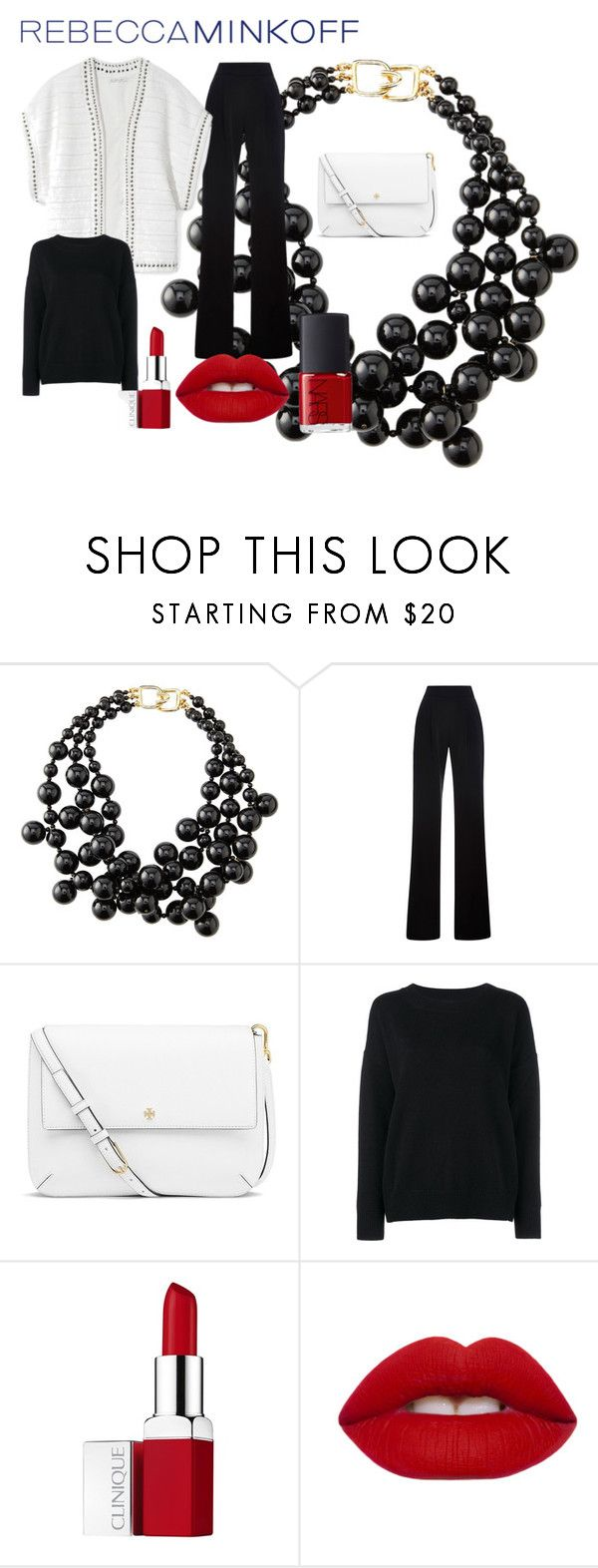 """""""Rebecca Minkoff's Spring 2016 Collection"""" by klara-kandare ❤ liked on Polyvore featuring Kenneth Jay Lane, Rebecca Minkoff, Misha Nonoo, Tory Burch, Frame Denim, Clinique, Lime Crime, NARS Cosmetics, women's clothing and women"""