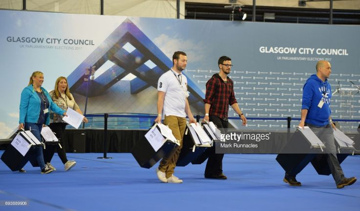 Ballot papers are counted during the UK Parliamentary Elections at the Emirates Arena on June 8, 2017 in Glasgow, Scotland. After a snap election was called, the United Kingdom went to the polls today following a closely fought election. The results from across the country are being counted and an overall result is expected in the early hours.