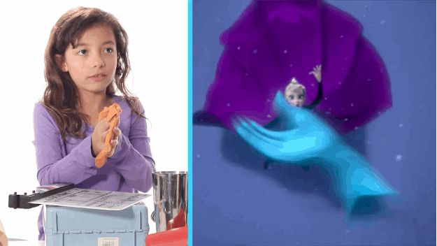 "This little girl pretty much nailed the ""phhhtttttttt"" of the glove flying away in Frozen using a whoopie cushion. 