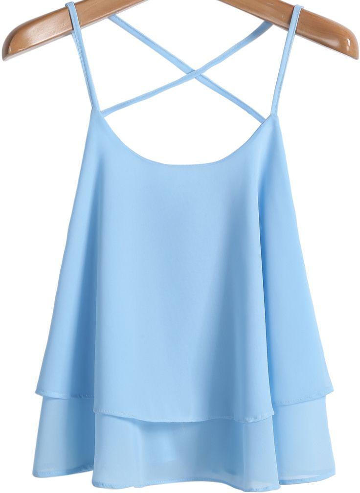 $11.90 Blue Criss Cross Loose Chiffon Vest - Sheinside.com