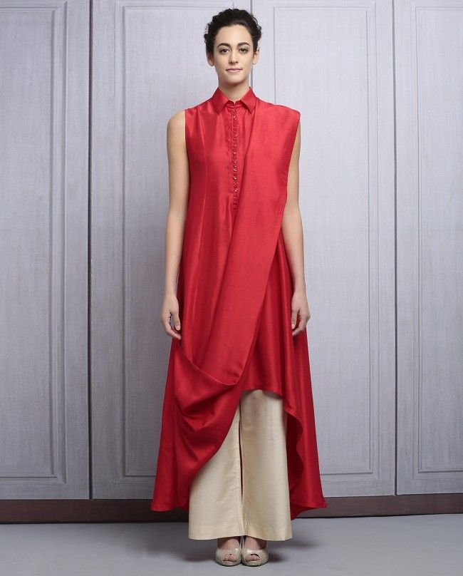 Red Muga Silk Solid Kurta by Manish Malhotra #ManishMalhotra #Designer #Kurta