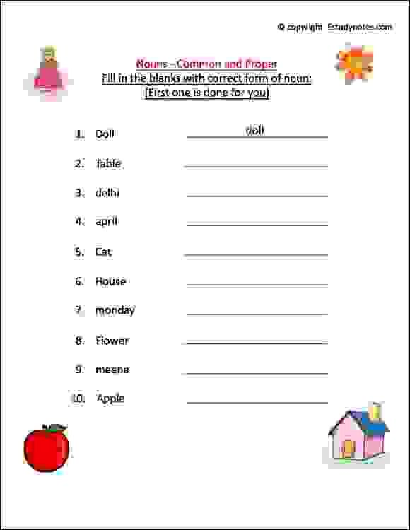Noun Worksheets For Grade 1 Esl Noun Activity Sheet Class 1