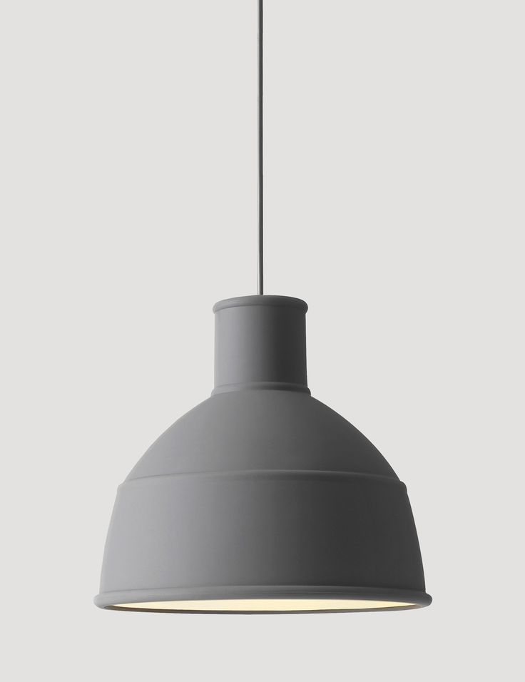 Muuto UNFOLD pendant light in grey. Over dining area of bench