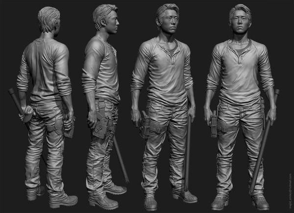 the Walking Dead \'Glenn\' Zbrush sculpt for McFarlane toys...