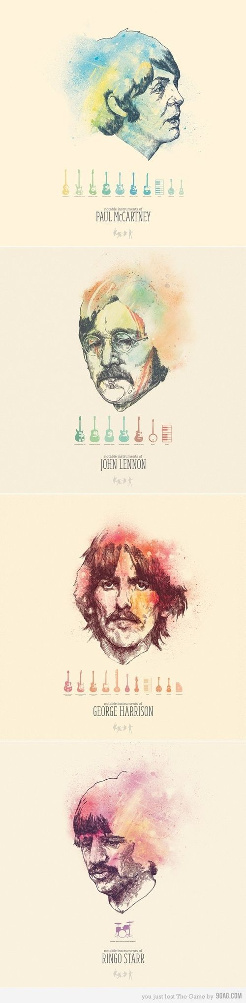 The Beatles and their notable instruments