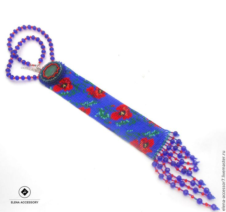 Купить Колье- галстук - темно-синий, галстук, галстук из бисера, галстук женский
