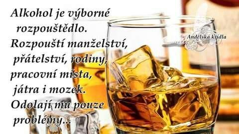 Alkohol je výborné rozpouštědlo. Rozpouští manželství, přátelství, rodiny, pracovní místa, játra i mozek. Odolají mu pouze problémy...