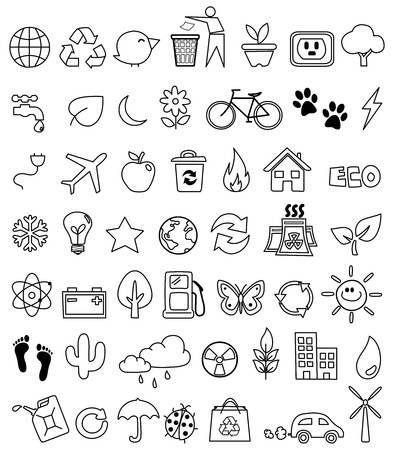 Eco doodle icon set – #doodle #Eco #icon #Set