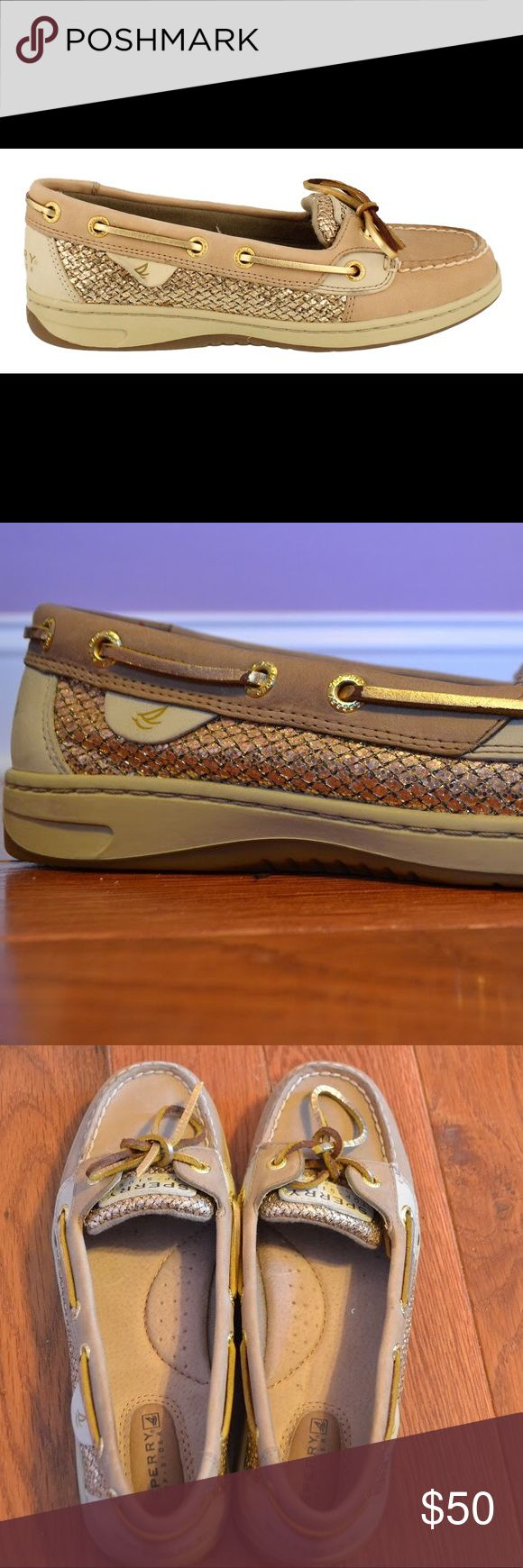 Angelfish Sperry Black Friday Sale! 👜🎉 🎈Black Friday Sale! Today only! Price will increase tomorrow🎈  Never worn sperry shoes! They compliment any outfit. Tan with gold details on each side. Size 7, NWOT, no flaws. Sperry Shoes Flats & Loafers