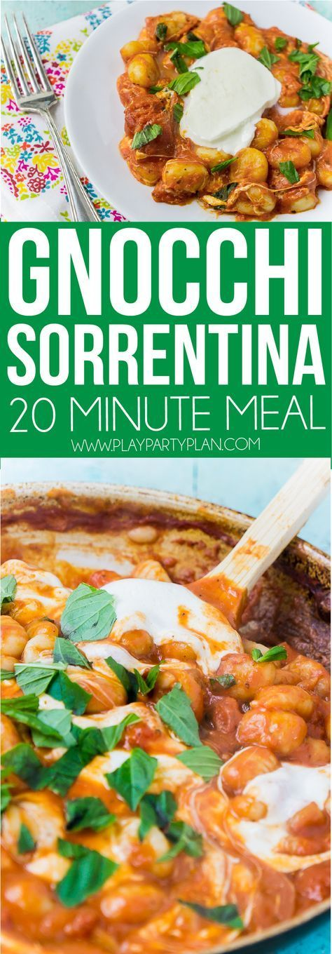 This gnocchi Sorrentina is one of the best gnocchi recipes! It's easy, healthy, and great for anyone, even a vegetarian! And best of all, its just four ingredients - tomato sauce, cheese, gnocchi, and fresh basil! One of the dinners we make every week! Sponsored