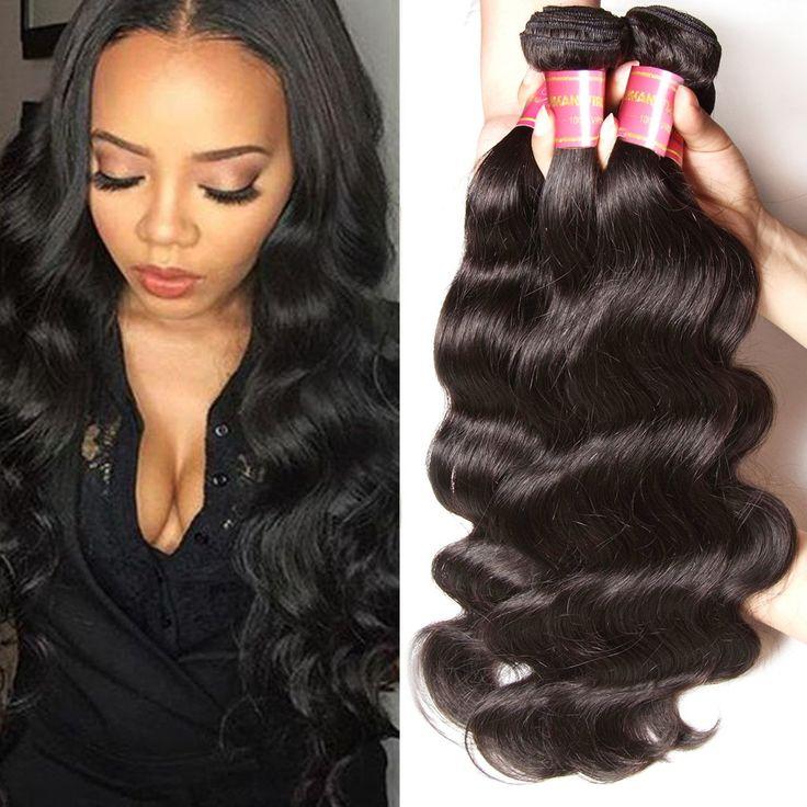 Longqi Hair 100% Real Brazilian Virgin Cheap Human Hair Extensions Body Wave Hair 3 Bundles16 18 20Inch Unprocessed Popular Natural Color 95-100g/pc
