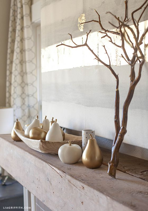 Styling my #DIY rustic wood mantel for Fall with #DIY painted canvas and accessories from #Targetstyle @LiaGriffith.com