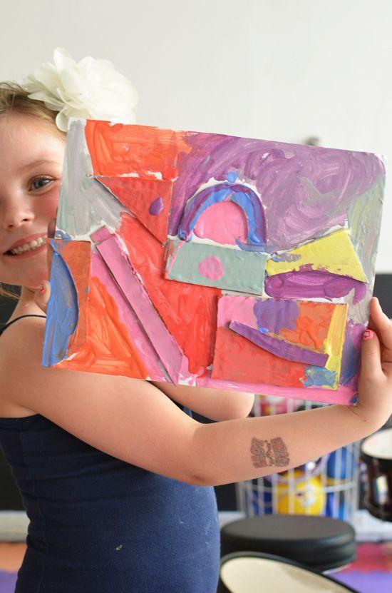 Pintura em relevo- papelão