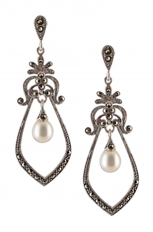 Silver Marcasite Mughal Style Hanging Pearl Drop Earrings