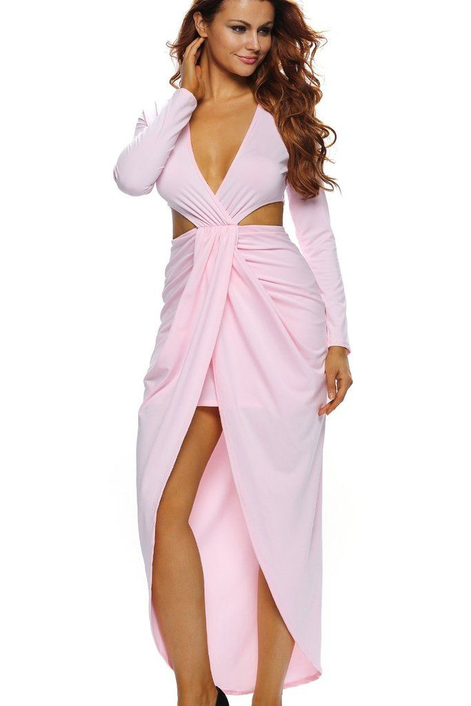 Robe Maxi Populaire Rose Decoupe Drape Fente Manches Longues MB61184-10 – Modebuy.com
