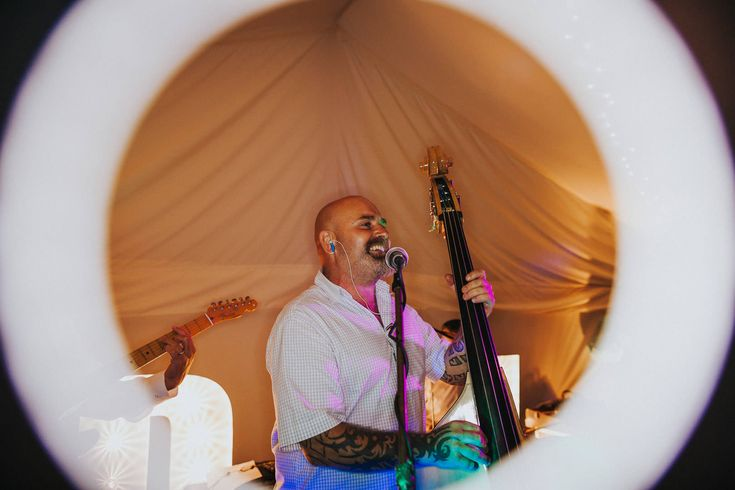 Every band needs a double bass - fact. Photo by Benjamin Stuart Photography #weddingphotography #doublebass #band #weddingmusic #weddingentertainment #weddingband #music #party