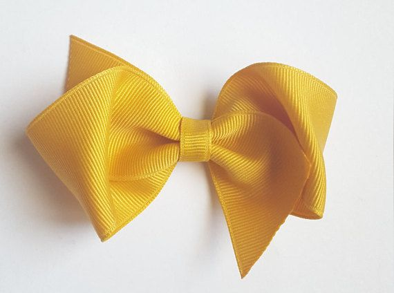mustard hair bow-perfect loopy style preppy hair clip for infant baby toddler and big girls--3.5 inch school uniform accessories