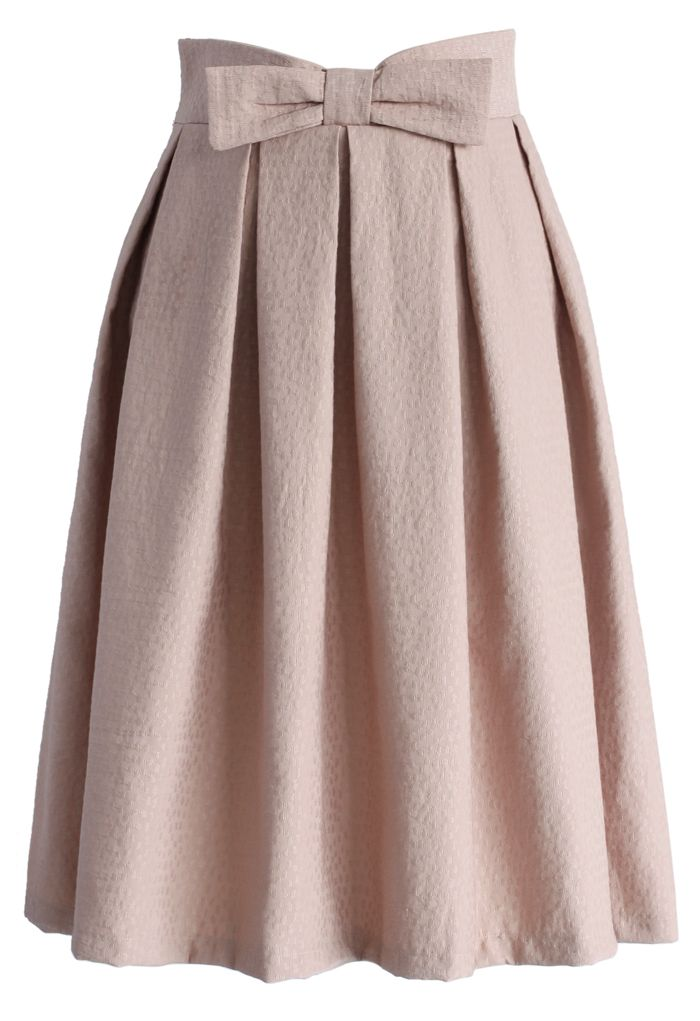 Sweet Your Heart Bowknot Pleated Midi Skirt in Pink - Skirt - Bottoms - Retro, Indie and Unique Fashion