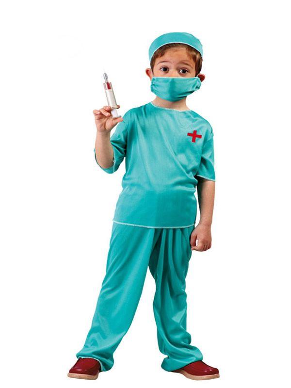 El disfraz de medico cirujano niño, incluye Gorro, mascarilla, camiseta y pantalón. en DisfracesMimo.com