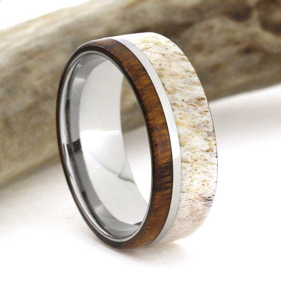 Herten gewei trouwring met Titanium Ring houten door jewelrybyjohan