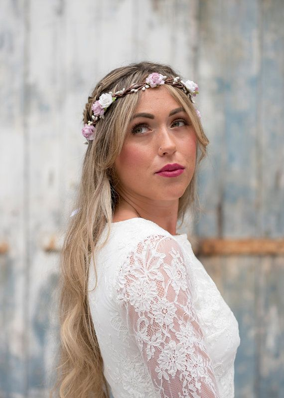 Pretty Floral Crown made with Mulberry Paper Roses in light pink and off white. The halo is made in rustic style using brown vine wire embellished