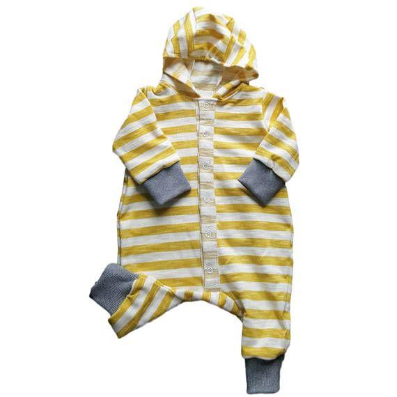 Organic Hooded Baby Girl Boy Overall Baby Yellow Mustard