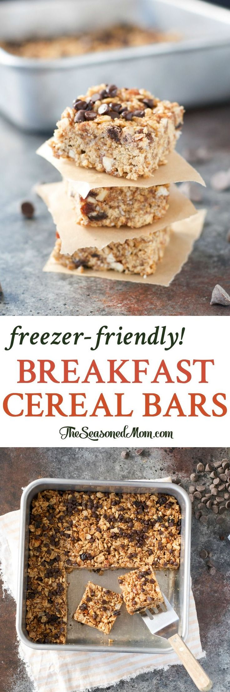 These Freezer-Friendly Breakfast Cereal Bars are an easy breakfast for mornings on-the-go! Breakfast Recipes | Breakfast Ideas | Breakfast Ideas Healthy