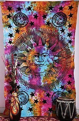 Hippie Star Tapestries , Psychedelic Tapestry ,Sun and Moon Tapestry,bohemian...