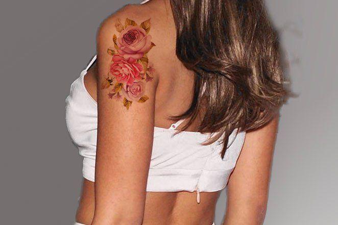 Back in Stock Flower Temporary Tattoo at MyBodiArt