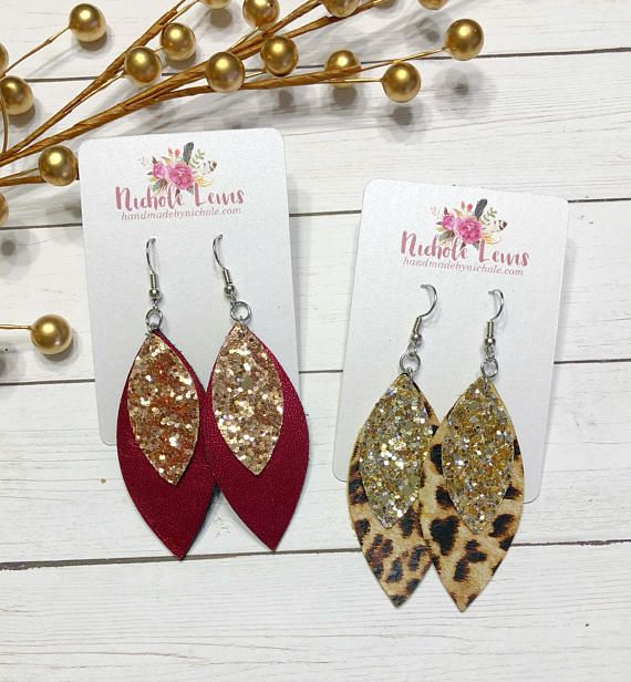 How to Make Earrings With Leather And Glitter