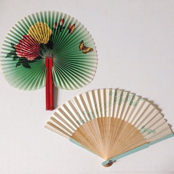 Vintage Chinese fans 1970's green floral paper fan with