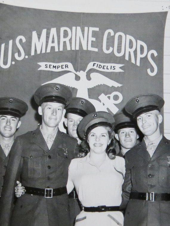 Vintage World War II Era 1940's USMC Marines Surround Beautiful Woman Snapshot Photo