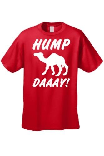 Men's Funny White What Day Is It? Hump Day! Camel T-Shirt, Size: XL, Red
